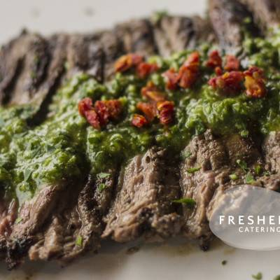 Steak topped with with Argentinian Chimichurri