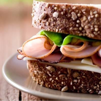 Ham, lettuce, provolone on bread
