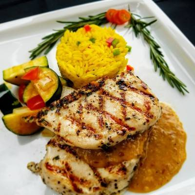 Freshella Catering Aztec Grilled Chicken with Smokey Pepper and Crimini's