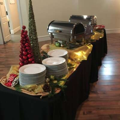 Holiday style buffet table