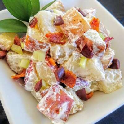 Potato salad with diced garnishes