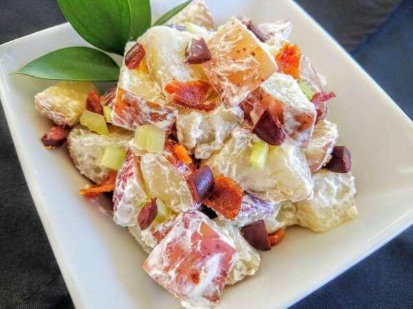 Potato salad with diced garnishes