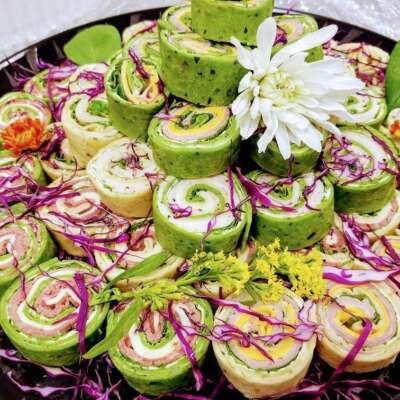 Tortilla Pinwheels Rolled up with Cream Cheese Spread, Turkey, Swiss, Ham, Cheddar, Roast Beef, Pepperjack