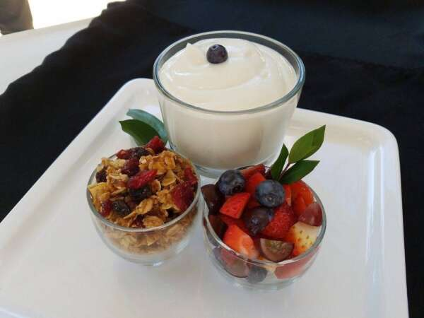 Greek yogurt with side of granola and cup of fruit