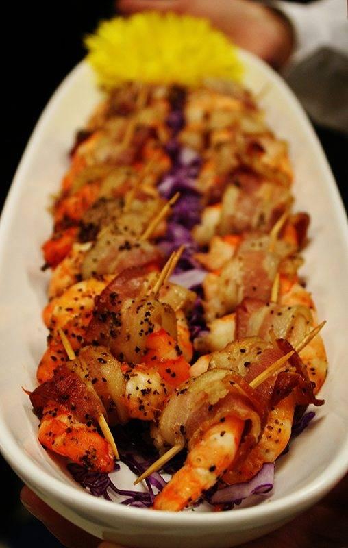 platter of bacon wrapped shrimp