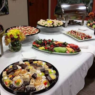 Assorted mini french pastries, fresh fruit platters, wee caprese skewers